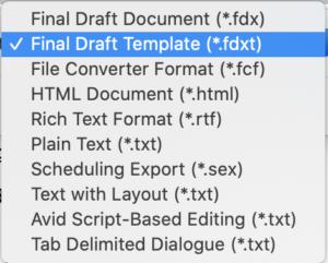 Export Formats Final Draft