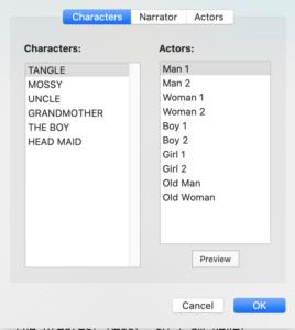 Final Draft 12 - Narrator Tab Characters
