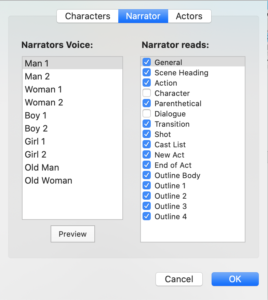 Final Draft 12 - Narrator Tab Narrator