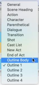 Final Draft 12 Outline Elements list