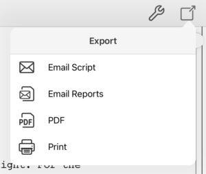 Final Draft Mobile Export Script