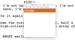 Final Draft SmartType List Example