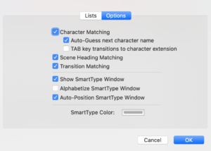 Final Draft SmartType Options