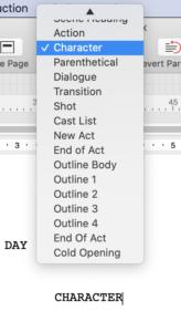 Final Draft screenplay formatting - choose element