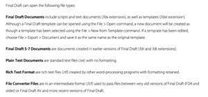 Import Formats Final Draft