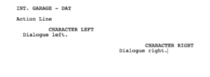 Movie Magic Screenwriter - left and right dialogue