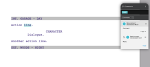 Screenwriting with Celtx - comments