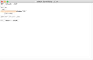 Screenwriting with Celtx - txt export