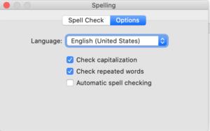 Final Draft Spelling - Options