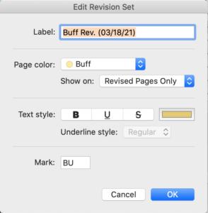 Final Draft 12 Revision Colors - Edit Revision Set