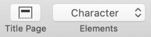 Final Draft User Interface - Title Page Element Menu