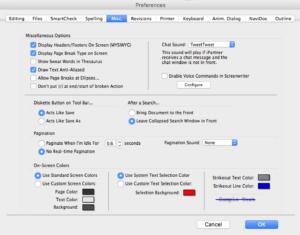 Movie Magic Screenwriter Miscellaneous Preferences