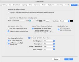 Movie Magic Screenwriter - Outline Preferences