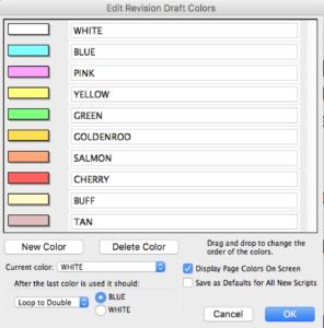 Movie Magic Screenwriter - Revision Colors