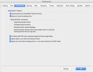 Movie Magic Screenwriter - SmartCheck Preferences