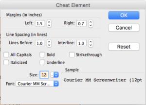 Movie Magic Screenwriter - Cheat Element