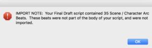 Movie Magic Screenwriter - Final Draft Import Error Message