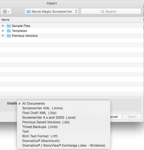 Movie Magic Screenwriter - Import File Types