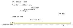 Movie Magic Screenwriter - Index Cards Formatting Page