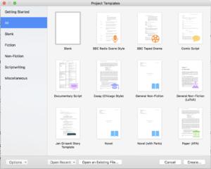 Scrivener - New Project