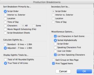 Movie Magic Screenwriter - Production Breakdown Options