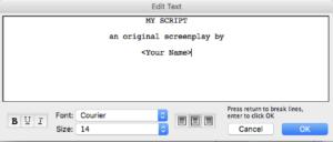 Movie Magic Screenwriter - Title Page Text Box