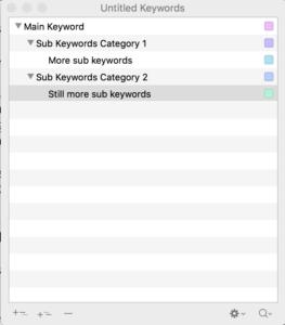 Scrivener Add Assign Keywords Window