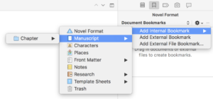 Scrivener Add Bookmark
