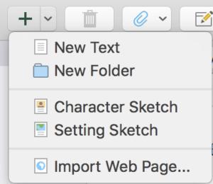 Scrivener Binder - New File or Folder