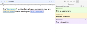 Scrivener Comments