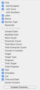 Scrivener Display Custom Metadata Outliner