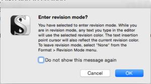 Scrivener Revision Colors enter revision mode