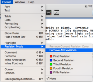 Scrivener Revision Colors remove revisions