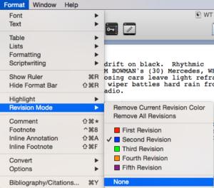 Scrivener Revision Colors revision mode none
