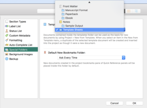 Scrivener Set Template Folder