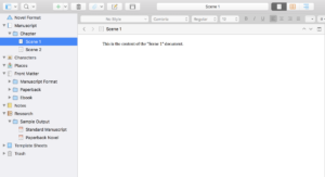 Scrivener View Modes - One Document Selected
