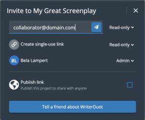 WriterDuet Share Collaboration Window