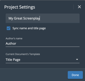 WriterDuet Title Page Sync Settings